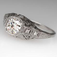 Platinum Filigree 1/2 Carat Old Euro Diamond Ring