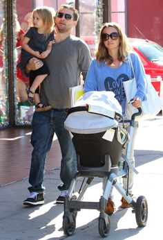 Tobey Maguire out & about with his family and his Orbit Baby stroller