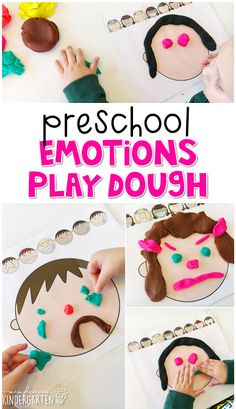 Preschool: All About Me - Mrs. Plemons' Kindergarten - Preschool: All About Me – Mrs. Plemons' Kindergarten This emotions play dough mat is a great way to reinforce emotion vocabulary. Great for tot school, preschool, or even kindergarten! Feelings Preschool, Teaching Emotions, Feelings Activities, Playdough Activities, Preschool Lessons, Feelings And Emotions, Preschool Classroom, Preschool Learning, In Kindergarten