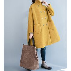 Women Winter Clothing Oversized Loose Double Breasted Wool Coat Yellow... ($229) ❤ liked on Polyvore featuring outerwear, coats, women's clothing, yellow, leather-sleeve coats, double-breasted wool coat, double breasted overcoat, grey coat and double breasted woolen coat
