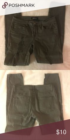 Olive Distressed Jeans Olive Distressed Jeans. Only wore once. Great condition. Forever 21 Jeans Skinny
