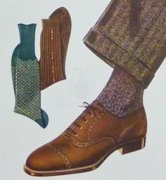 Brown oxford shoe with mid brown suit and purple socks - Oxford Shoes Guide - How To Wear Oxfords, How To Buy & What To Avoid — Gentleman's Gazette Sock Shoes, Shoe Boots, Fashion Illustration Vintage, Fashion Illustrations, Purple Socks, Steampunk, Brown Shoe, Vintage Men, Vintage Style