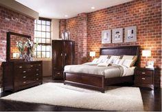 Unbehandelte Ziegelwand Schlafzimmer
