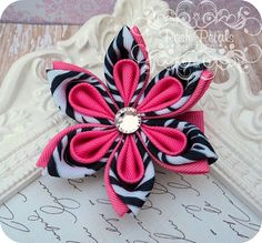 Valentine's Day Party - Zebra Print Kanzashi Flower Hair Clip :: by Posh Petals by Steph #Zebra