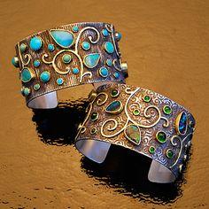Garden Cuffs Sterling Silver and 18 Karat gold