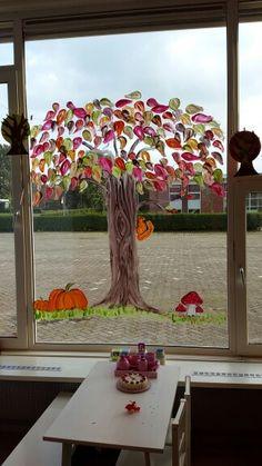 Thema herfst. Raamschildering