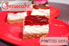 Cheesecake Protein Bars - healthy cheesecake with no cream cheese (greek yogurt). Its a snack (not dessert!!!)   | BusyButHealthy.com