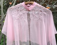 Women's Vintage Bed Jacket Peignoir Rhinestone Sheer Chiffon PINKS Smocking Sheer Lingerie Baby Doll Nylon Lingerie