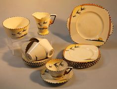 Lot 300 - A Burleigh ware Sunray Swallow pattern part tea service, comprising of cups, saucers, sandwich Art Deco Pattern, The Saleroom, Tea Service, Coffee Set, China Patterns, Tea Cups, Sandwiches, Machine Age, Pottery