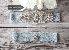 Wedding Garter, NO SLIP Lace Wedding Garter Set, bridal garter set, pearl and rhinestone garter set, vintage rhinestones Style A2015 KEEPSAKE garter is decorated with my exclusive design vintage applique beaded with glass crystals and pearls. TOSS garter is decorated with a