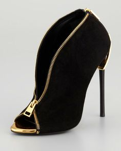 Tom Ford Zipperheel Suede Zipfront Bootie in Black | Lyst