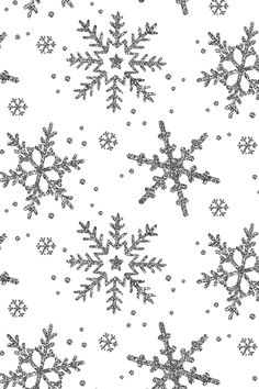 Colorful fabrics digitally printed by Spoonflower - Snowflake Shimmer on White Snowflake Shimmer on White by willowlanetextiles - Silver glitter snowflakes on fabric, wallpaper, and gift wrap. Beautiful holiday design with simple snowflake patterns.