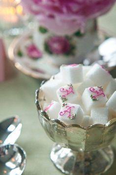 Monogrammed sugar cubes – pretty pastel bridal tea – bliss celebration - Do Garden Tee Sandwiches, Afternoon Tea Parties, Sugar Cubes, Festa Party, My Cup Of Tea, Pretty Pastel, High Tea, Tea Time, Tea Pots