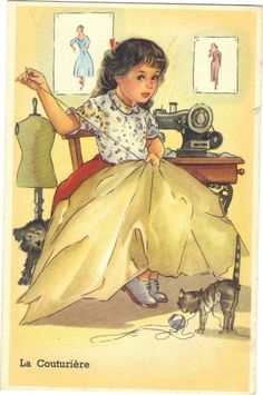 Child with Sewing Machine, Cat & Dog Vintage Images, Vintage Pictures, Sewing Clipart, Pattern Baby, Sewing Cards, Artists For Kids, Vintage Sewing Machines, Sewing Rooms, Sewing Notions
