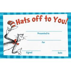 Cat in the Hat Hats Off to You! Recognition Awards are bright and colorful. Acknowledge students hard work and accomplishments birthdays and more. Each pack includes 36 identical awards. Each award measures x and is printed on sturdy card stock. Dr Seuss Activities, Book Activities, Dr Seuss Who, Kindergarten Registration, Teacher Awards, Recognition Awards, Preschool Graduation, Summer Reading Program, Paper Magic