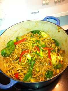 Udon Noodle Stir Fry Recipe. Udon noodles have made it to mainstream grocery stores. Use up all of the Asian sauces in your fridge to make this healthy meal. Packed with vegetables and the protein of your choice.