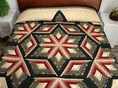 Diamond Star Log Cabin Quilt -- exquisite made with care Amish Quilts from Lancaster (hs2386)