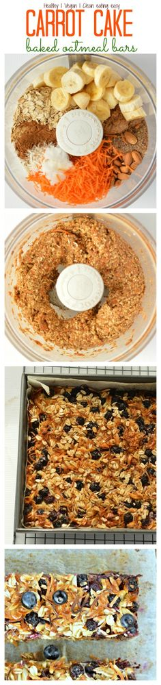 Healthy On-The-Go Breakfast Make-ahead in 30 min, one-bowl recipe Carrot Cake Oatmeal Bars with Flaxmeal & blueberries Oatmeal Bars Healthy, No Bake Oatmeal Bars, Oatmeal Breakfast Bars, Healthy Bars, Vegan Baked Oatmeal, Vegan Granola Bars, Healthy Sweets, Healthy Baking, Healthy Snacks