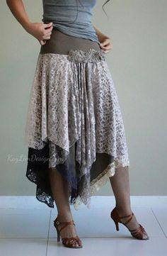 bohemian style lace skirt / jersey skirt / layered skirt /