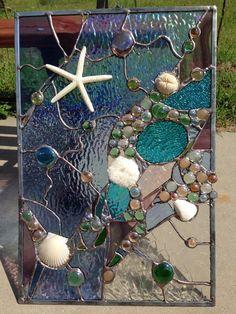 Items similar to Stained Glass Abstarct Transom Window Suncatcher Panel Valance 20 on Etsy Sea Glass Crafts, Faux Stained Glass, Stained Glass Designs, Stained Glass Panels, Stained Glass Projects, Sea Glass Art, Stained Glass Patterns, Leaded Glass, Mosaic Art