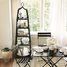 Grand Tour Etagere from Ballard Designs - Can be used as a plant stand, china display, kitchen pot & cookbook holder, bathroom towel & shampoo holder, or bookshelf.