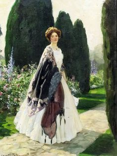 Leonard Campbell Taylor. a lady in a garden