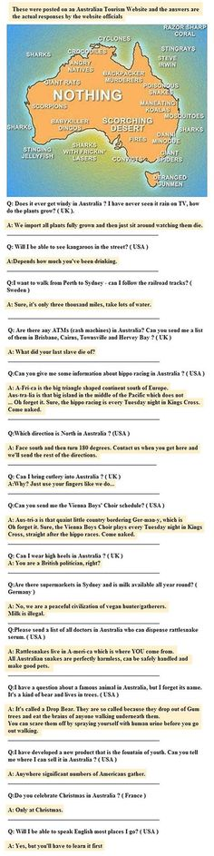 Answers from the Australian Tourism website. Really makes me want to go. :D