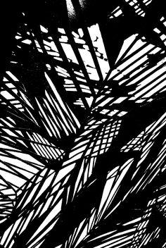 Monochrome Mark Making - black & white pattern inspired by light & shadow; textile print design // Alice Howard-Graham
