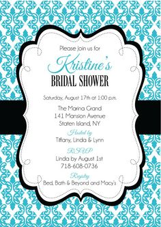 Damask Bridal Shower Invitations