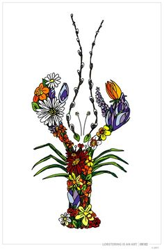 LIAA -- Spring Flower Lobster available as a print or notecard Lobster Tattoo, Lobster Art, Sister Tattoos, New Tattoos, Hes Her Lobster, Just Ink, Drawing Prompt, Flower Tattoos, Arm Tattoo