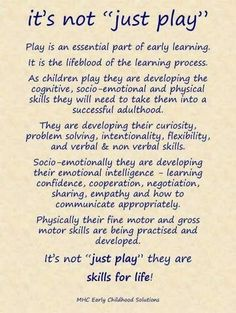 Play is an essential part of early learning. It is the lifeblood of the learning process. childhood Education Kimberly Hart on Play Based Learning, Learning Process, Learning Through Play, Early Learning, Project Based Learning, Toddler Learning, Preschool Classroom, In Kindergarten, Preschool Quotes