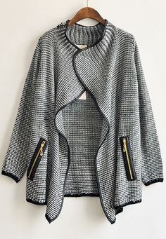 Black Long Sleeve Front Flecked Zip Cardigan US$39.99