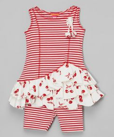 Loving this Red Cherry Ruffle Tunic & Leggings - Infant on #zulily! #zulilyfinds