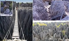 The beautiful Tsingy de Bemaraha National Park in Madagascar is a winding labyrinth of jagged rocks, rope bridges and vast rocky caverns and is definitely not for the faint-hearted.
