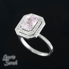 Cotton Candy Pink Sapphire and Diamond Double Halo Ring - Rectangle Cushion Cut - LS2577 on Etsy, $4,082.19 AUD