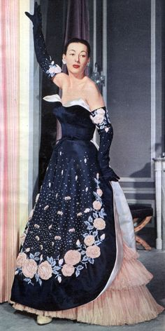Breathtaking Balmain evening gown with matching gloves, November 1951.