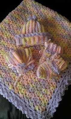 Crochet For Children: Baby Blanket with Picot Shell Border - Free Patter...