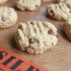 Almond or peanut butter chocolate chip oatmeal cookies.  Flour-less.  Butter-less. Gluten free.
