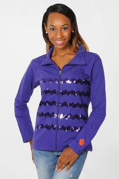 Stay cozy and chic in this Clemson University Sequins Chevron Track Jacket from UG Apparel! Let's Go Tigers!
