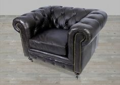 Black Leather Armchair with Nail Heads