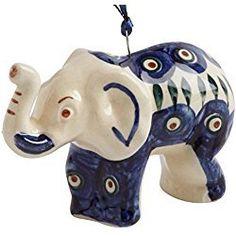 Elephant Christmas Ornament Polish Pottery Peacock Handmade Ceramic