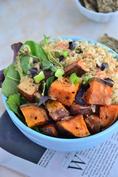 This bowl is a combination of roasted sweet potatoes, fluffy quinoa and the most amazing carrot and roasted red pepper 'creamy' dressing that I've ever made.