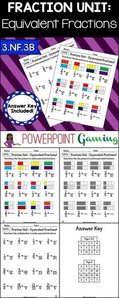 Reinforce fractions skills with this equivalent fractions worksheets. In this set of worksheets, students are making equivalent fractions. There are two fractions bars in each problem for students to use as a visual and fractions below each set. Great for