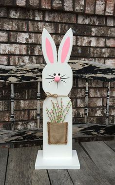 White Wooden Bunny Stand / Wooden Easter Bunny / Spring decor