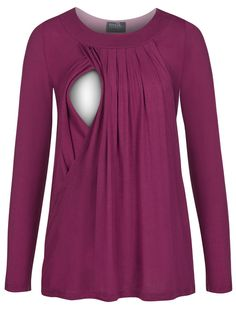 Pleated flowy nursing top in long sleeves - Milk Nursingwear