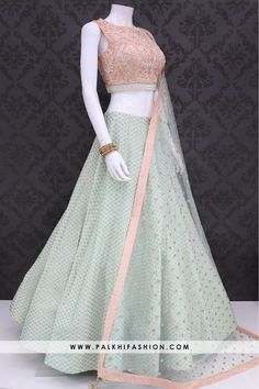 Palkhi fashion exclusive pista colored designer lehenga choli set with handmade attractive blouse & soft net sequin work dupatta. Call/WhatsApp for Purchase Inqury : Lehenga Choli Designs, Wedding Lehenga Designs, Indian Wedding Lehenga, Lehenga Choli Online, Lehnga Dress, Lehenga Gown, Party Wear Lehenga, Half Saree Lehenga, Net Lehenga