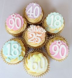 8 x birthday age, name edible fondant icing cupcake toppers cake decorations on EBay £14.75
