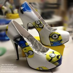 Custom Minions Artwork on Bordello Teeze high heels from Shoe Me Gorgeous. To see more LIKE us www.facebook.com/shoemegorgeous