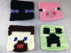 Crochet Minecraft-Inspired Coasters. $10.00, via Etsy.