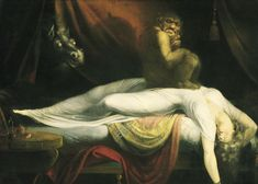 John Henry Fuseli The Nightmare, , Institue of Arts, Detroit. Read more about the symbolism and interpretation of The Nightmare by John Henry Fuseli. Fantasy Boy, Scary Paintings, Goya Paintings, Vintage Paintings, Classic Paintings, Fantasy Paintings, Vintage Art, Art Noir, Art History